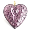 Glass Lamp Pendant Heart 26mm Amethyst/Silver